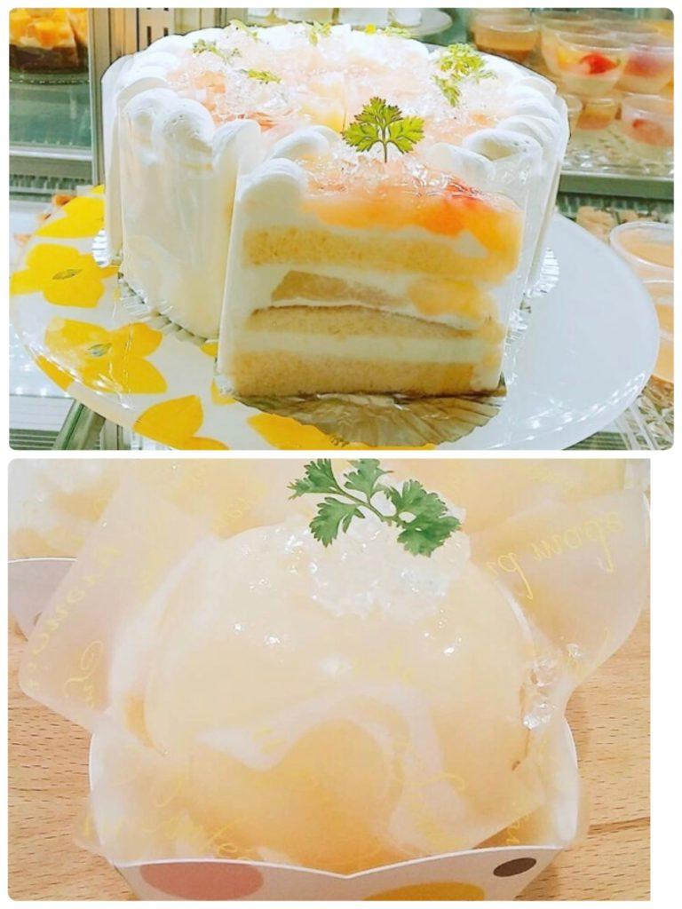 プティグレーヌ桃のケーキ